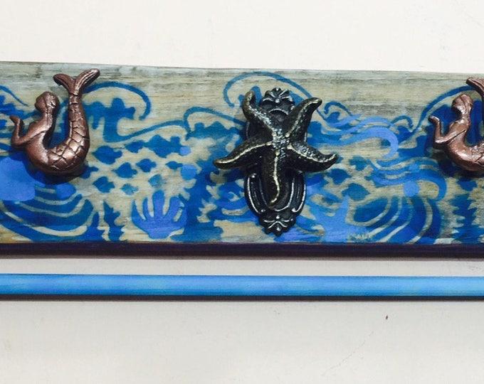 Bathroom mermaid wall decor towel rack rod organization/ reclaimed wood ocean waves art organizer towel hooks 5 starfish sea animal knobs