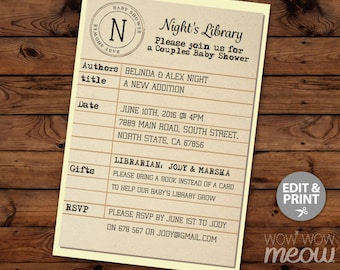 Baby Shower Library Card Invitation Book Twins Gender Reveal Invite Librarian INSTANT DOWNLOAD Yellow Party Personalize Editable Printable