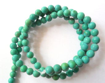 """Genuine Turquoise 14.5"""" Beads Strand, 4mm Soft Matte Finished Beads"""