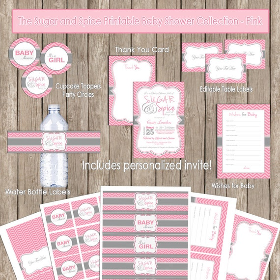 Sugar and spice baby shower invitation package pink gray filmwisefo