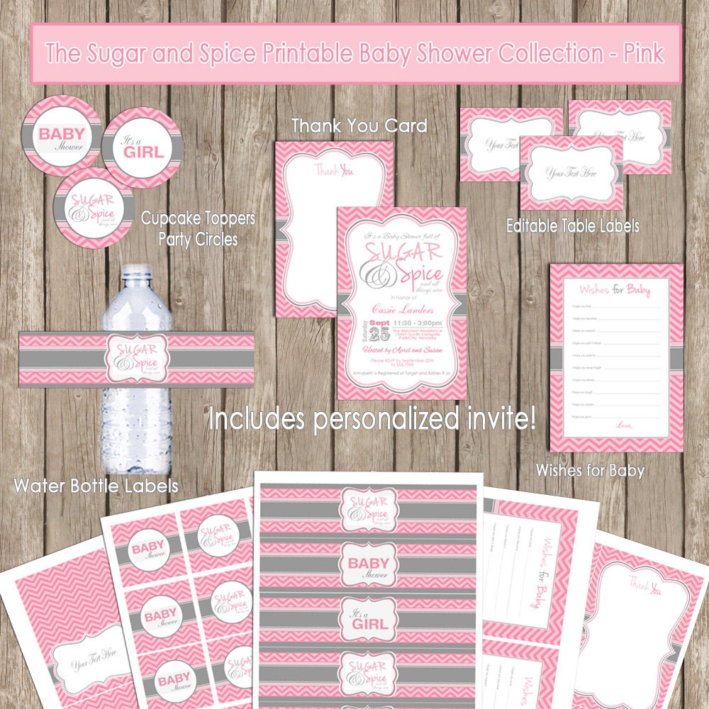 Sugar and spice baby shower invitation package pink gray