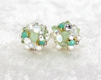 Mint Bridal Earrings- Cluster Earrings- Art Deco Bridal Studs- Mint Green Earrings- Mint Vintage Inspired Studs-Brass Boheme