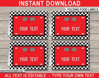 Race Car Food Labels - Race Car Theme Party - Buffet Tag - Party Decorations - INSTANT DOWNLOAD with EDITABLE text - you personalize at home