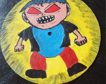 "Angry Boy 7"" record painting. Original Outsider low brow artwork."