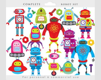 Robot clipart - robots clip art, gears, nuts, bolts, robot digital papers, whimsical, cute,  personal and commercial use