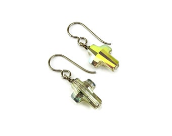Nickel Free Cross Earrings Iridescent Green Swarovski Crystal Crosses on Hypoallergenic Niobium or Titanium Earwires for Sensitive Ears