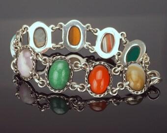 Vintage Silver Agate Bracelet, Banded Agate, Amethyst, Tigers Eye