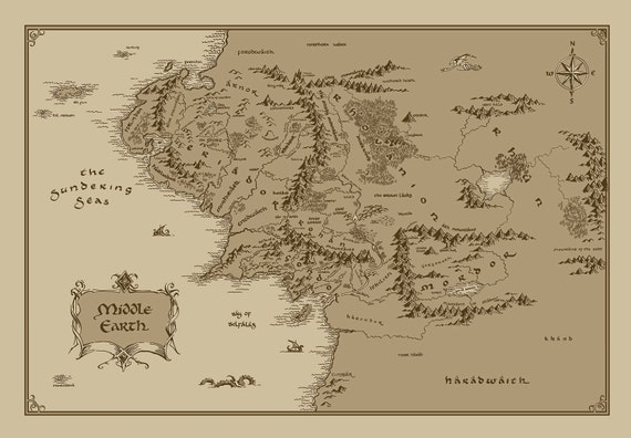x large middle earth map cotton fabric lord of the rings the hobbit from fandomfabric on etsy studio