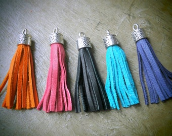 Set of 5 genuine color hand made leather tassel