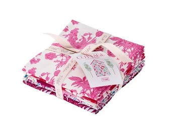 USA! TILDA The Cottage Fabric Collection Fat Quarter Bundle (5fq's) in Pink/Red Manufacturer Cut