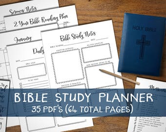 Bible Study Planner. Instant download printable. Sermon Notes. Prayer Journal. Christian Devotional Bundle. Organizer note book. Calendar.