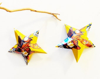 Shipyard Summer Ale Beer Stars, Ornaments, Aluminum Can, Upcycled, Lobster, Golden Yellow, Orange, Blue