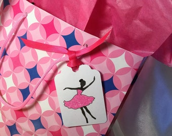 Gift Tags ~ Hand-Glittered Dancer Tags with Ribbon, Ballerina Tag, Dance Party, Barbie, Goody Bag Tags, Place Cards, Girly Party Tags