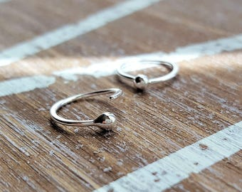 Argentium Silver Hoops, 20g Earrings, Ball Hoop Artisan Jewelry - Lobe or Cartilage Piercing - Select size: 6mm, 7mm, 8mm, 9mm or 10mm