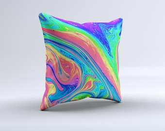 The Neon Color Fusion V9 ink-Fuzed Decorative Throw Pillow