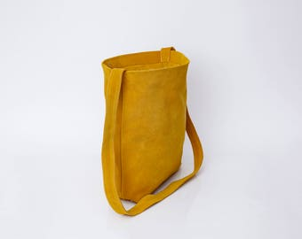 Yellow Leather Bag, Leather Crossbody Tote, Suede leather bag, Soft Leather Bag, Lightweight Leather, Tote bag, Suede Bag, Woman Bags