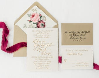 Gold Script Wedding Invitations printed on Cotton Cardstock with Hand Torn Edge and Burgundy and Blush Floral Envelope Liners   - Sample Set