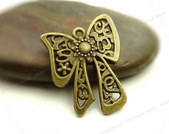 8 Bow Charms or Pendants 19x24mm Antique Bronze Tone Metal - Bowknot Pendants - BB18