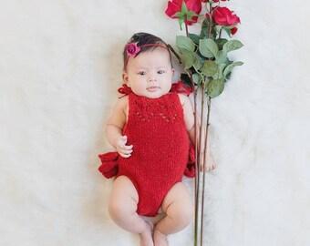 3-6 months props- Newborn romper - Baby girl props - Photo props - Newborn valentine - Valentines day props - Newborn baby photo - Red Props