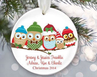 Personalized Family Christmas Ornament Owl Family of 5 Owls Ornament Christmas Gift Custom Ornament Holiday Gift Name & Date Five OR255