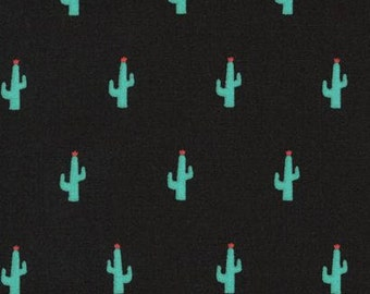 Kaufman Sevenberry Mini Prints Cactus Green Succulent Cacti on Black Cotton Fabric by Robert Kaufman from Japan