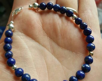 Lapis Lazuli with 925 sterling silver and 9ct Gold filled beaded bracelet
