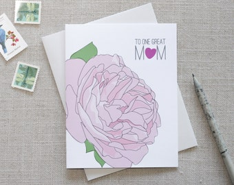 To One Great Mom / Modern Happy Mother's Day Card / Illustrated Pink Rose Card for Mom / Mom Card for Wife / Mother's Day Card for Friend