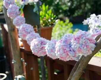 "Pink White and Blue Pom Pom Garland 46"" Across 3"" and 3 1/2"" Pom Poms - Pom Pom Garland - Photography Backdrop - Party Decoration"