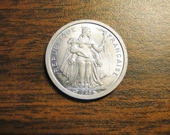 1965 France Polynesie 1 Franc - Very Nice!