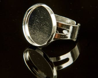 5 Silver cabochon holder 16 rings
