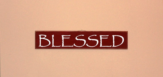 BLESSED - Large sign 37 x 7 inches - BARN RED hand painted on wood with White lettering