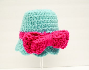 Blue and Pink Baby Girl Hats, Bow Beanie, Pink Baby Hat, Double Thick Bow Aruba & Pink