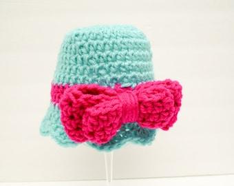 Bow hat, baby hat, newborn hat, baby girl hat, baby shower gift, crochet hat, crochet baby hat, baby gift, baby girl, newborn girl hat