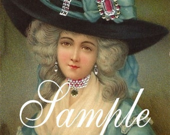 Marie Antoinette in blue with large plummed hat, Newest offering, Stunning vintage image  reproduced intoTwo 5x7 inch fabric blocks