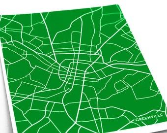 Greenville, SC City Wall Art Print / University Map Art Poster / 8x10 / Choose your color