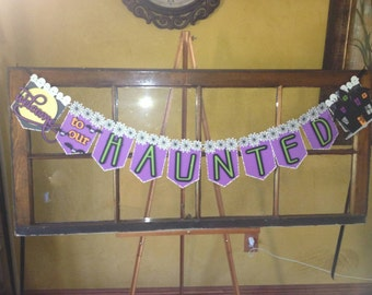 Welcome to our haunted house homemade cardstock banner