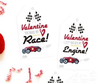 Printable Valentine Tags for Kids - Boy Valentines - Race Car Valentines - Car Valentines