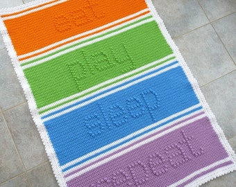 Eat Play Sleep Repeat Baby Blanket Crochet PATTERN - INSTANT DOWNLOAD