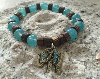 Elephant Charm Beaded Bracelet, Turquoise Beaded Bracelet, Beaded Bracelet, Turquoise Jewelry, Elephant Bracelet, Elastic Bracelet,Bracelet