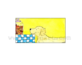 Whimsical Golden Retreiver  Treats  print 5x7