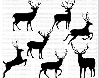 Deer Silhouette SVG PNG JPG Vector Graphic Clip Art Collection