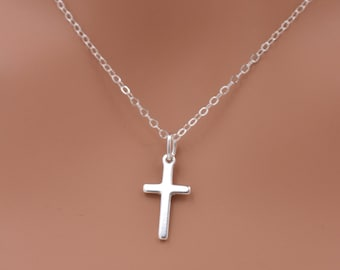 Child's Cross Necklace, Tiny Cross Necklace, Sterling Silver Girls Cross Necklace, First Communion Gift, Confirmation Gift 0260