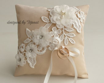 Wedding ring bearer pillow with embroidered lace and flowers-beige ring bearer, ring cushion, ready to ship