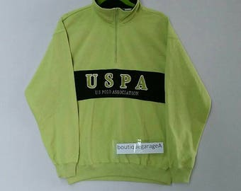 Rare!! USPA sweatshirt spellout pull over jumper sweater hip hop green colour large size