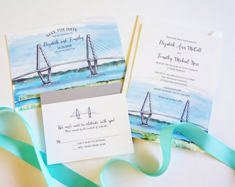 Ravenel Bridge Wedding Save the Date, Watercolor, Charleston Save the Date, Destination Wedding Save the Date, Custom Invitations