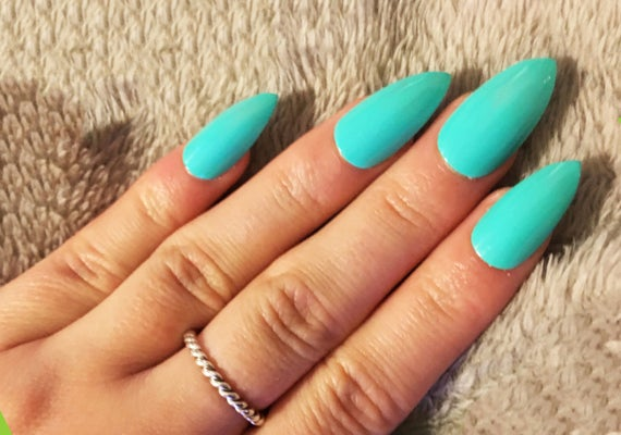 Bright Mint Green False Nails Set Of 20 Fake Nails