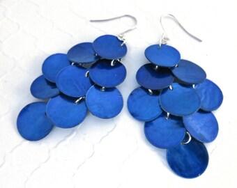 Long Blue Earrings - Blue Mussel Shell Earrings, Big Earrings, Beach Jewelry, Beach Wedding, Chandelier Earrings, Long Shell Dangle Earrings