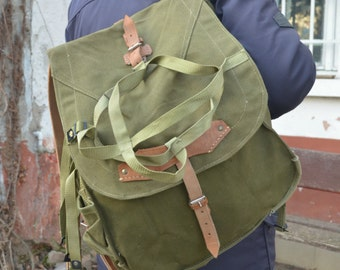 Vintage Army Backpack with WEBBING, Heavy Duty Canvas Rucksack, Big Military Backpack, Army Green Rucksack, NOS New Old Stock Army Bag