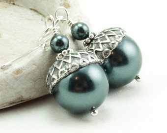 Acorn Earrings Acorn Jewelry Woodland Weddings Swarovski Pearl Earrings Dangle Earrings