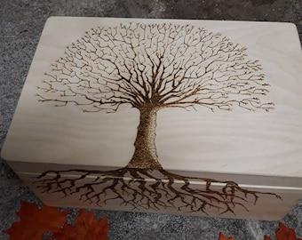 Large wooden Keepsake/Memory Box/Weddings, engraved  Personalised Tree of life, Love, Wican, Pagan hand burned pyrography